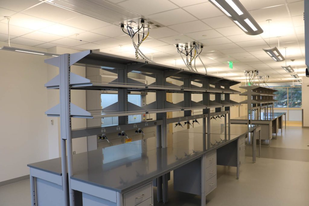 Adjustable System with epoxy tops and hanging cabinets