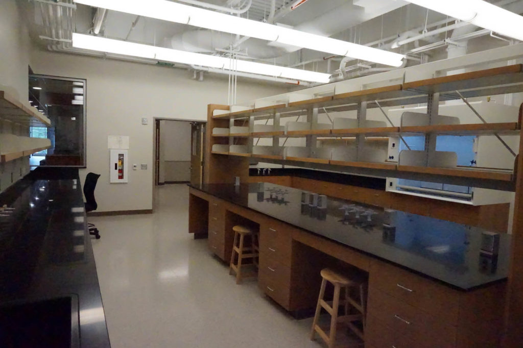 Fixed Wood Laboratory Casework with Suspended Shelving